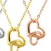 18K Gold Plated Dangling Double Heart Pendants