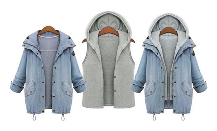 Veste 2 pièces en jean et coton, taille au choix, à 29.99€ (63% de réduction)