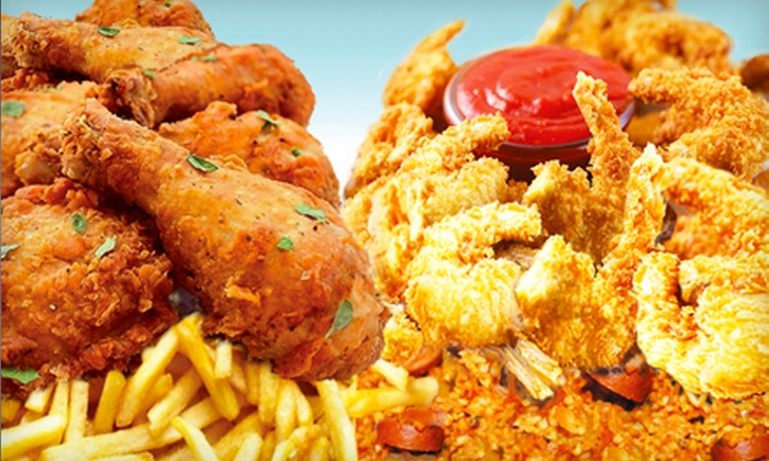 Fish Place TX5 - Multiple Locations: Cajun-Style Seafood and Cajun Fried Chicken at Fish Place TX5 (Half Off). Three Options Available.