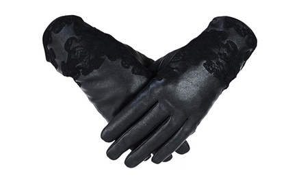 Women's Genuine Leather Lace Gloves