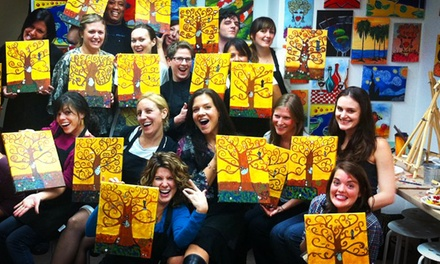BYOB Wine Glass Painting Class for One or BYOB Canvas Painting Class for Two from Art Plus Studio (Up to 50% Off)