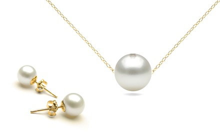 14K Gold Genuine Pearl Earring and Pendant Set