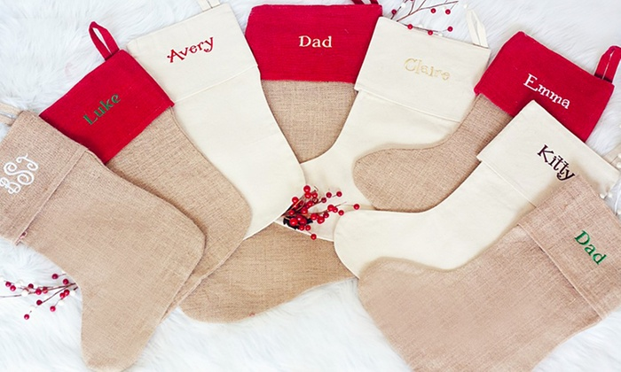 custom embroidered burlap or cotton christmas stockings - Embroidered Stockings Christmas