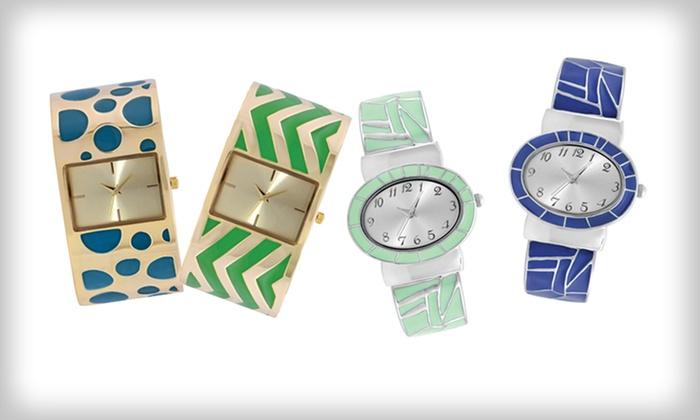 Geneva Women's Bangle Watch: Geneva Women's Bangle Watch in Blue/Silver, Gold/Blue, Gold/Green, or Mint Green/Silver