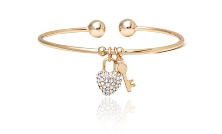 18-Karat Gold Plated and Crystal Elements Charm Bangle