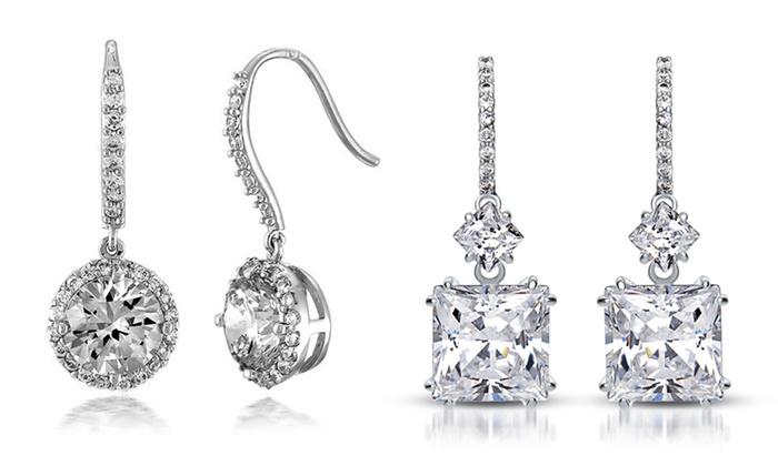 Brilliante Simulated Diamond Earrings: Brilliante 5-, 8-, or 10-Carat Simulated Diamond Earrings. Multiple Designs Available.