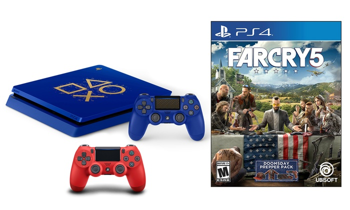 Sony PlayStation 4 1TB Blue Limited-Edition System with Magma Red DualShock  4 Controller and Far Cry 5