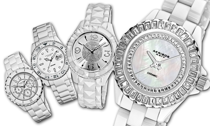 Akribos XXIV White Ceramic Watches for Men and Women: Akribos XXIV Ceramic Watches for Men and Women (Up to 93% Off). 12 Styles Available. Free Shipping and Returns.