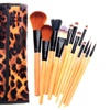 Leopard-Skin Makeup Brush Set with Travel Case (12-Piece)