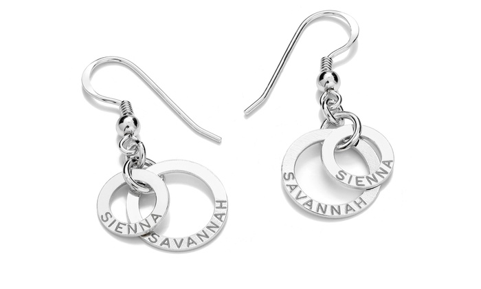 SilvexCraft Design: Double-Ring Earrings with Engraving from SilvexCraft Design (Up to 78% Off)