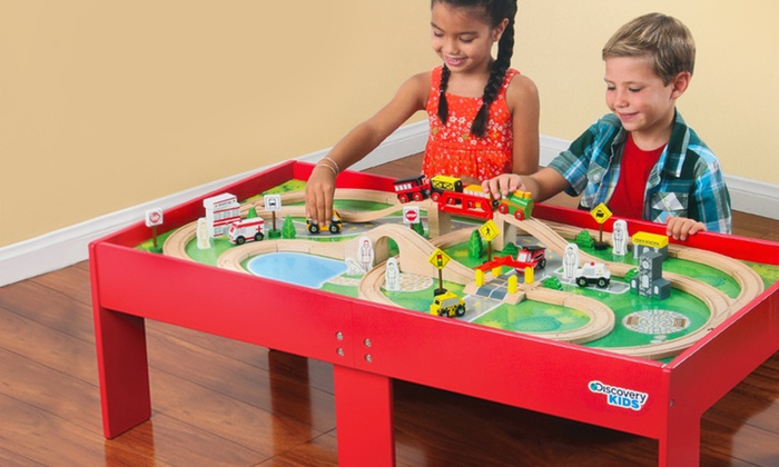 Wooden Train Set and Table | Groupon Goods
