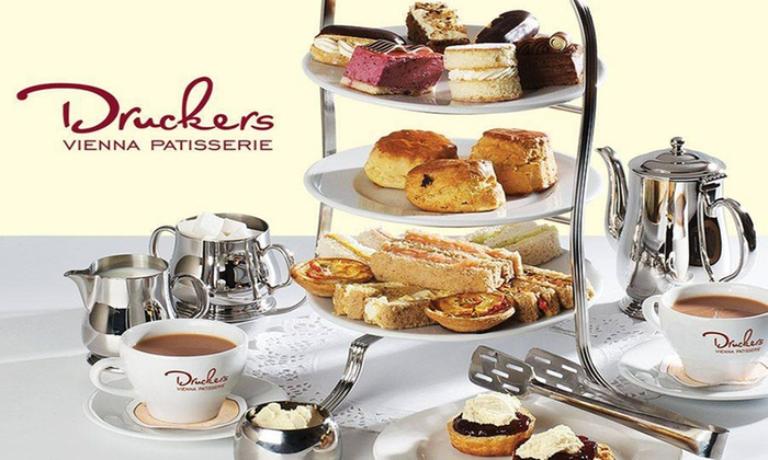 Druckers Vienna Patisserie - Multiple Locations: Afternoon Tea for Two and an Optional Treat Box to Takeaway at Druckers Vienna Patisserie (Up to 33% Off)