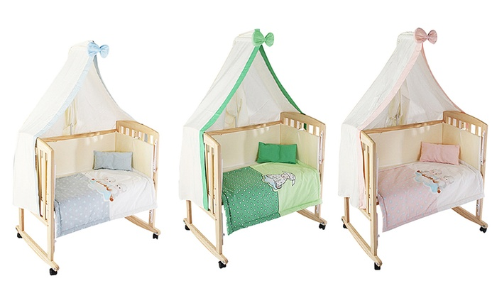 Groupon Goods Global GmbH: Lit bébé évolutif en bois 3 en 1 : berceau, lit d'appoint et lit pour bébé, à 89,99€