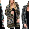 Hooded Abstract Print Women's Plus Size Cardigan
