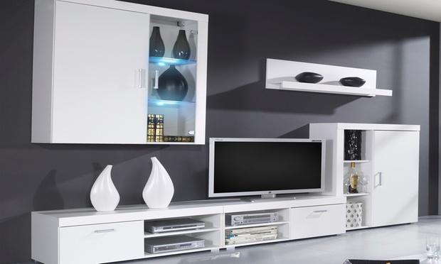 Parete soggiorno con luci led groupon goods for Salon completo moderno