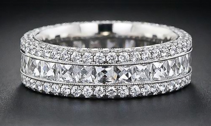 band eternity size pave bling cz jewelry sterling cubic row bands five micro zirconia silver