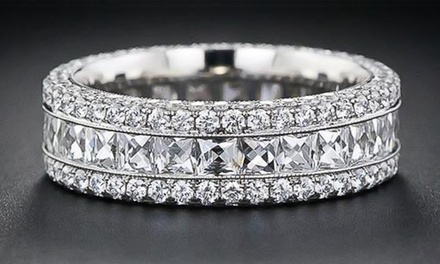 7 CTTW Cubic Zirconia Eternity Band in 18K White Gold Plated Brass