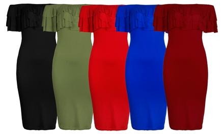 Off-the-Shoulder Frill Midi Dress