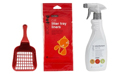 Petface Cat Litter Scoop, Disinfectant Spray and SixPack Tray Liners set for £7.99