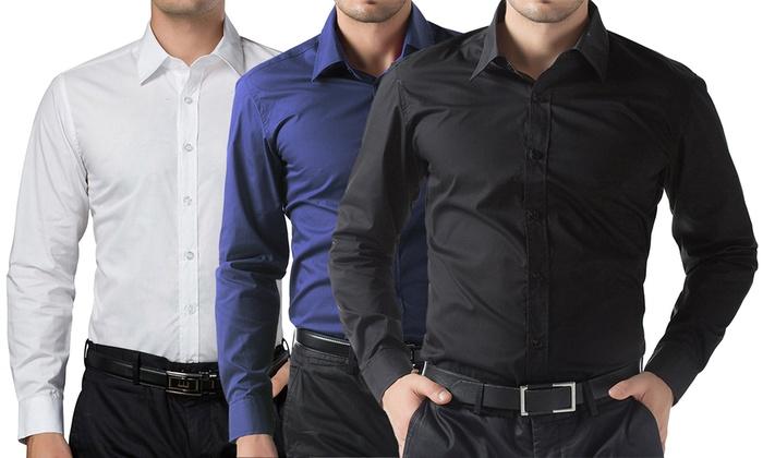 c9a53de206 Fino a 58% su 3 camicie da uomo slim fit | Groupon