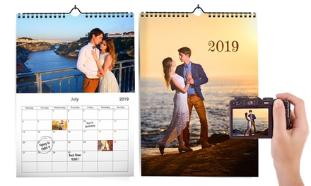 1, 2, 3 o 5 calendarios de pared personalizables en formato A4 en Printer Pix (hasta 87% de descuento)