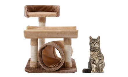 Tiered Cat Tree with Tunnel and Built-In Scratching Posts