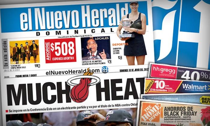 """El Nuevo Herald: $8 for a 12-Month Saturday and Sunday Subscription to """"El Nuevo Herald"""" ($105.72 Value)"""