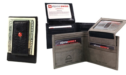 Alpine Swiss Men's Leather Wallets and Money Clips