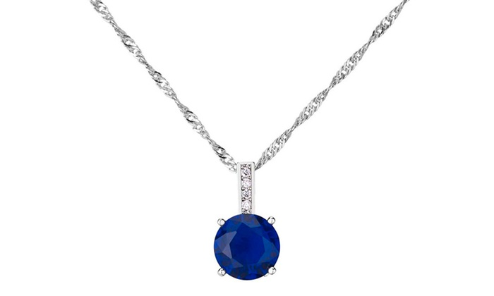 233 cttw blue sapphire pendant groupon goods 233 cttw brilliant cut blue sapphire pendant in 10k white gold 233 cttw brilliant aloadofball Image collections