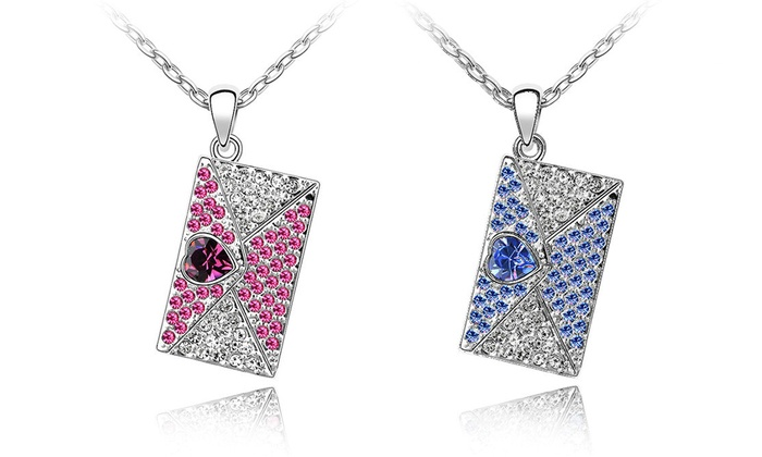 Box Pendant with Swarovski Elements Crystals: Box Pendant with Swarovski Elements Crystals in 18K White Gold Plating