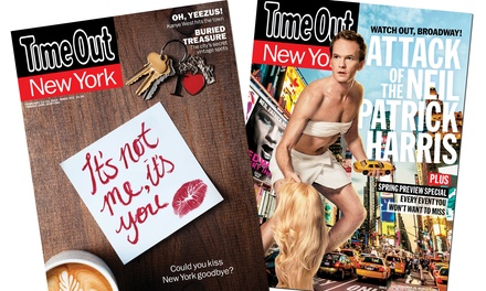 "$19 for a One-Year Print and Digital Subscription to ""Time Out New York"" ($38 Value)"