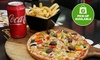 Halal Pizza, Chips and Soft Drink