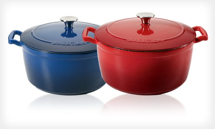 Sabatier Cast-Iron Dutch Ovens: Sabatier Porcelain-Enamel Cast-Iron Dutch Ovens (Up to 55% Off). Three Sizes and Colors Available. Free Shipping.