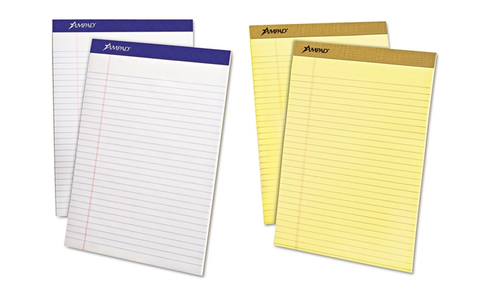 Ampad Legal-Ruled Letter-Size Writing Pads: 12-Pack of Ampad Yellow or White Letter-Size Writing Pads