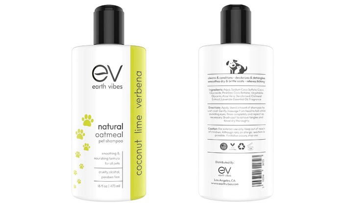 Earth Vibes Natural Oatmeal Pet Shampoo for Dogs and Cats (16 Fl  Oz )