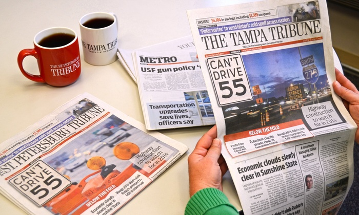 "The Tampa Tribune LLC: Home delivery of ""The Tribune"" (Up to 71% Off). Three Options Available."