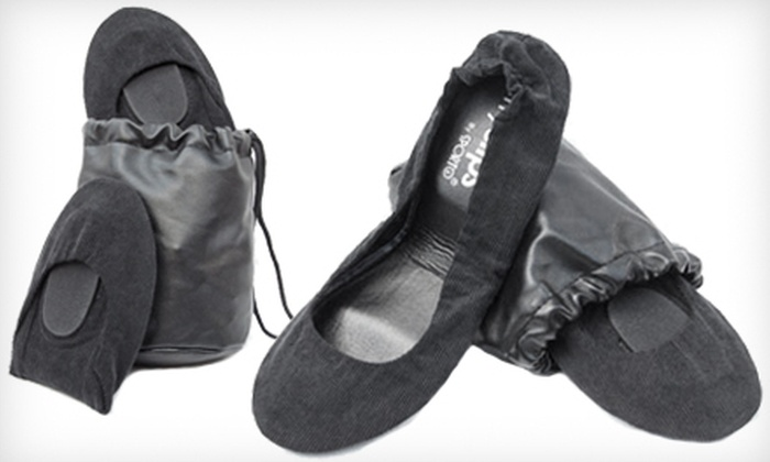 Black Corduroy CitySlips Foldable Flats: $20 for Black Corduroy CitySlips Foldable Flats in S–L with a Matching Carrying Pouch ($58 List Price). Free Shipping.