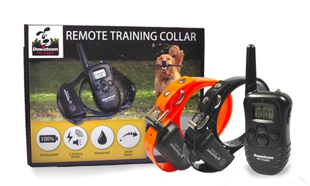 Rechargeable Remote-Controlled Dog Training Collar with Vibration, Static, and Tone (1- or 2-Pack)