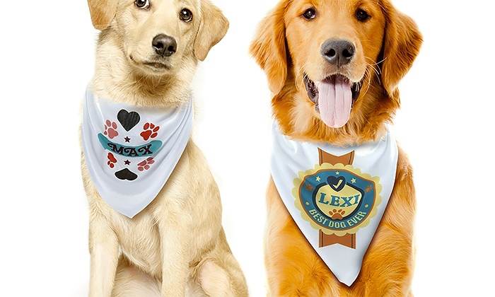 Monogram Online: One or Two Personalized Dog Bandanas from Monogram Online (62% Off)