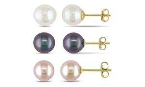 Genuine Freshwater Pearl Stud Earrings In 14k Gold