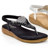 Eddie Marc Women's Slip-On Sequined Thonged Sandals