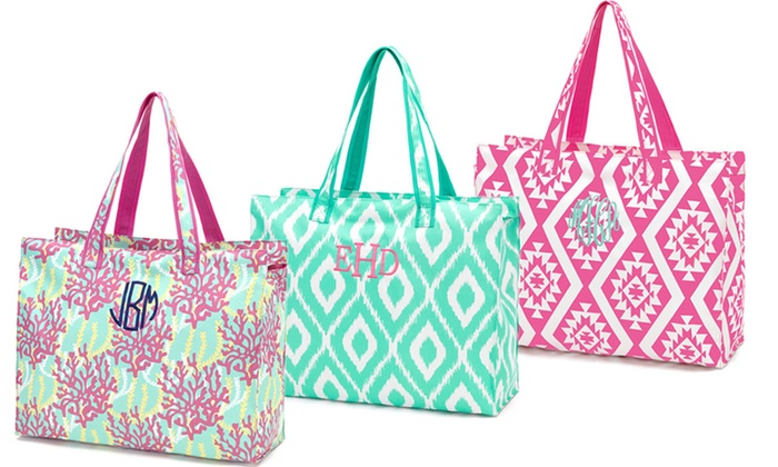 Embellish Accessories and Gifts: One or Two Monogrammed Beach Totes from Embellish Accessories and Gifts (Up to 52% Off)