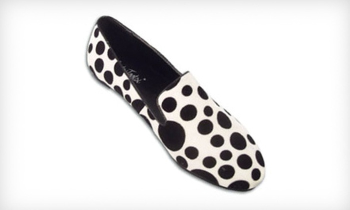 White Polka Dot Women's Casual Slip-Ons: $24 for a Pair of BootsiTootsi White Polka Dot Women's Casual Slip-Ons ($46 List Price). Free Shipping.