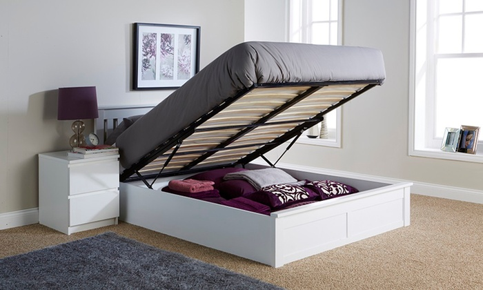 Wooden ottoman bed groupon goods for Beds groupon