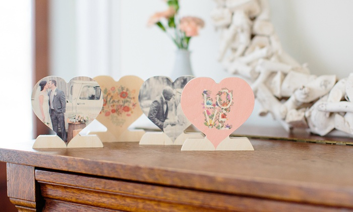 PhotoBarn: One, Two, or Three Custom Wooden Photo Hearts from PhotoBarn (Up to 78% Off)
