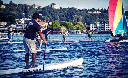 Two-Hour Stand-Up Paddleboard Rental for One or Two with Option for Custom T-Shirt at Motion Boardshop (Up to 60% Off)