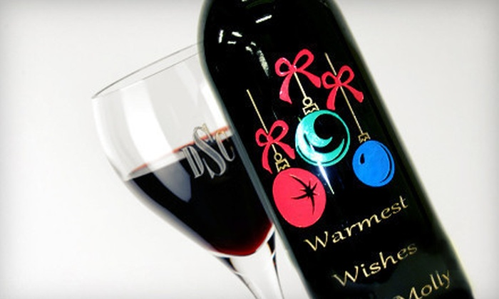 Master Engravers - Falls Church: Custom Engravings on Ornament or Two Optic Wineglasses with Option for Wine Bottle at Master Engravers (Up to 60% Off)