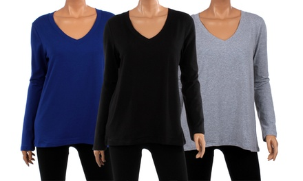 6-Pack of Women's Plus-Size Long-Sleeve V-Neck Tops