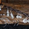 Genuine 0.925 Sterling Silver Earrings Set (9 Pairs)