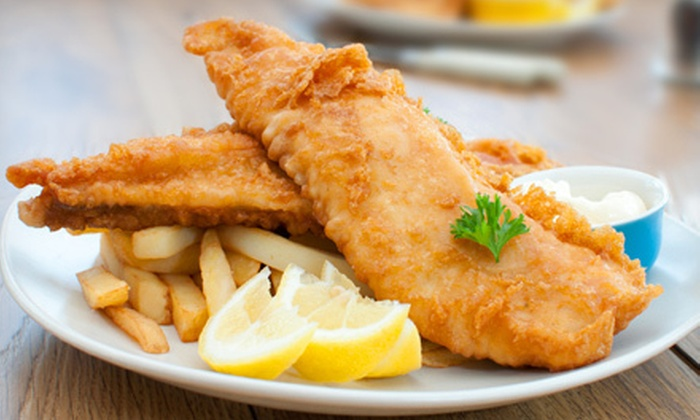 O.T.H. Gourmet Fish & Chips - Multiple Locations: Seafood Sampler with Fish and Chips, Shrimp, Scallops, and Poutine for Two at O.T.H. Gourmet Fish & Chips (52% Off)